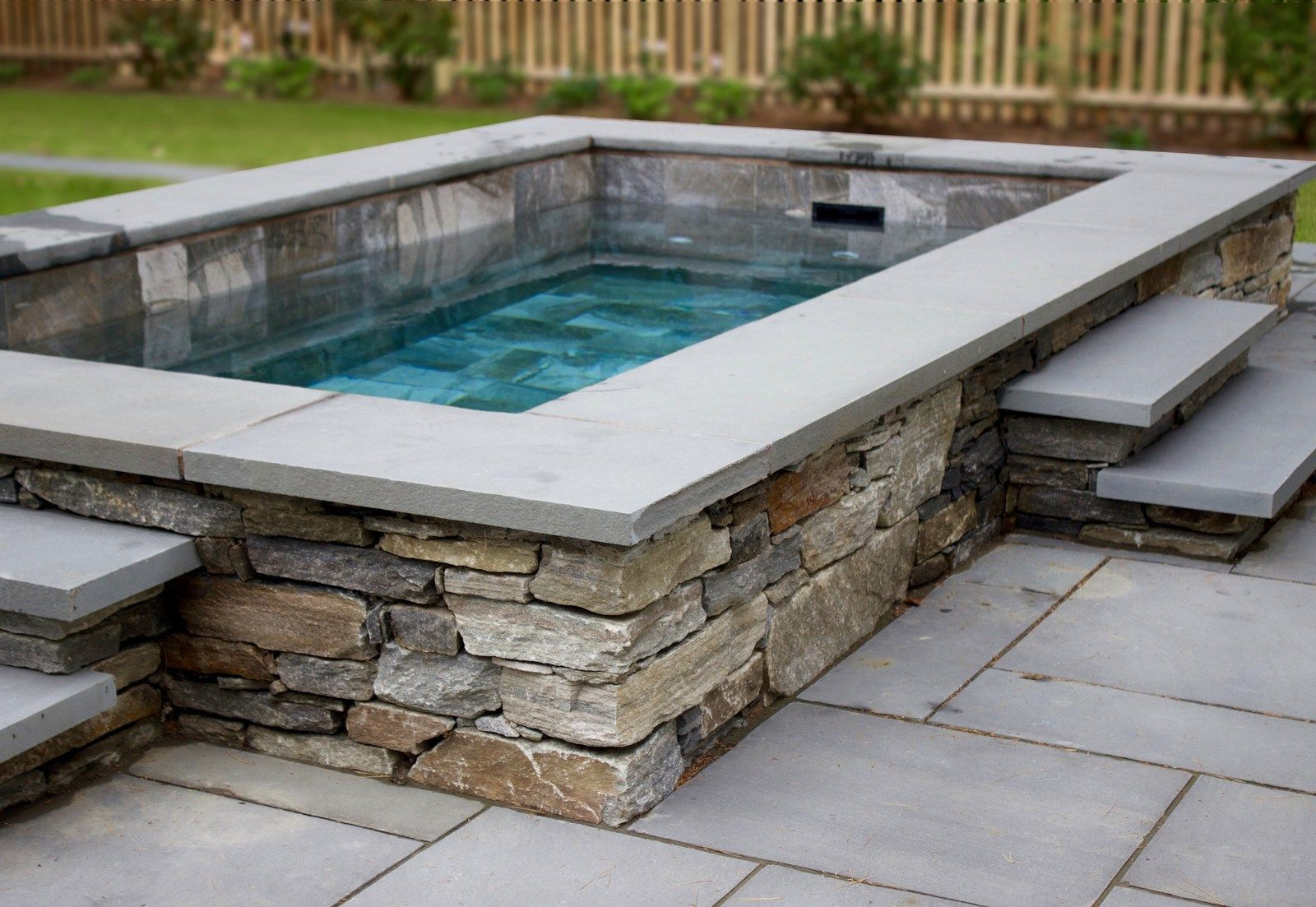 Two Pools In One A Plunge Pool Does Double Duty Small Above Ground Pool Small Backyard Pools Small Pool Design