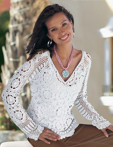 Spring / fall women crochet blouse MADE TO ORDER by AsDidy