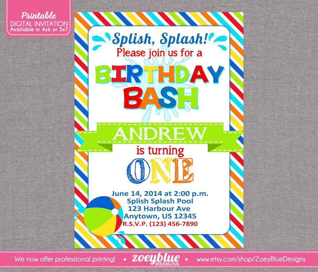 pool party birthday bash invitation beach ball 1st first birthday