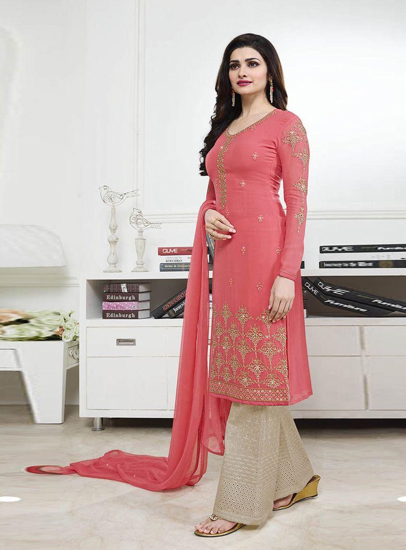 e660628c49 Prachi Desai Pink Georgette Palazzo Style Salwar Suit 89012 ...