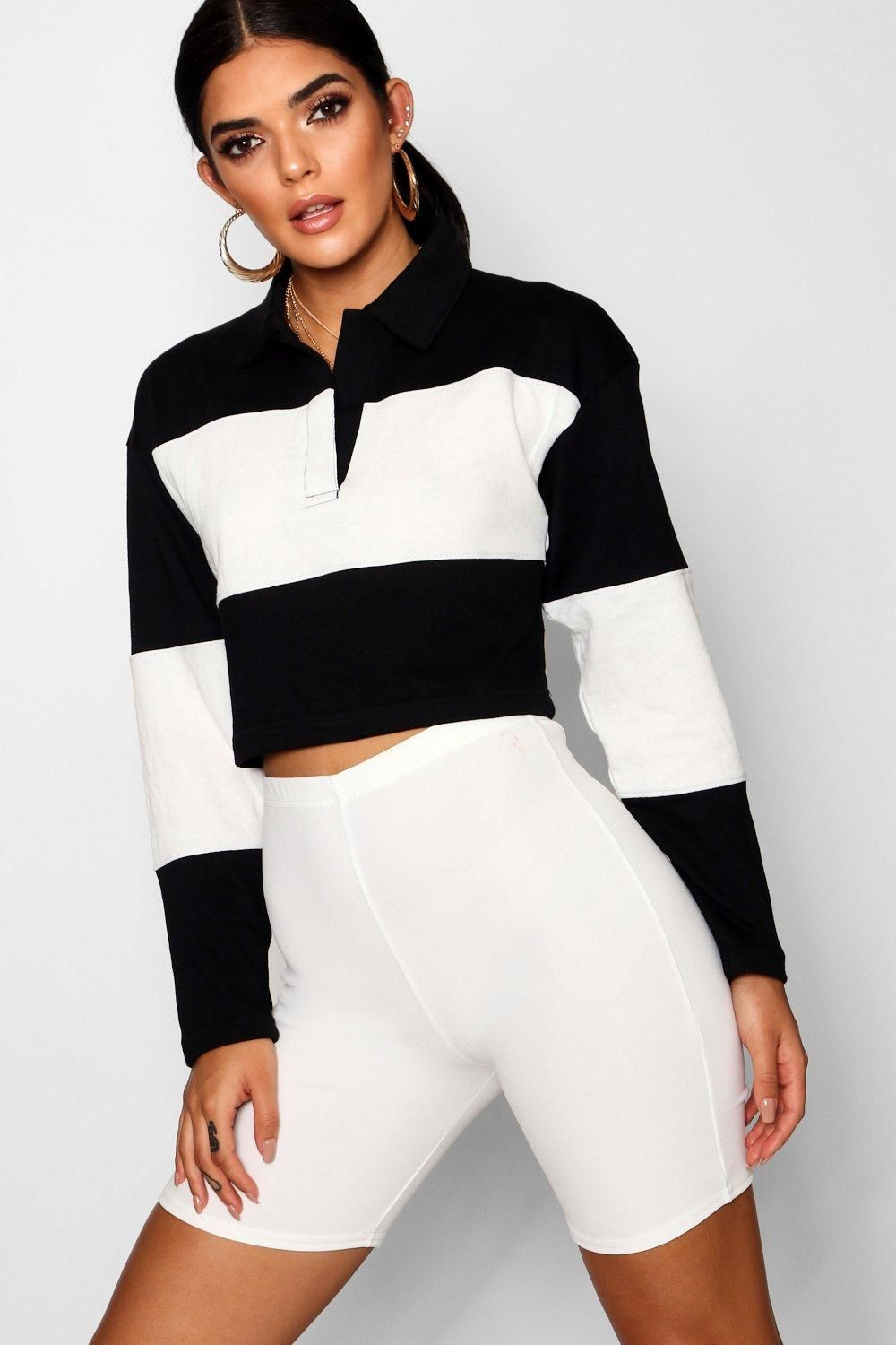 161fa865df814 Click here to find out about the Colour Block Rugby Crop Top from Boohoo
