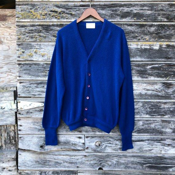 Vintage Blue Cardigan Men L 60s Mod 1960s Lord Jeff Jefflinks Golf Sweater Grandpa Mr Rogers 70s 197 Cardigan Men Vintage Outfits Vintage Clothing For Sale