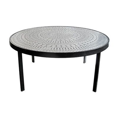 Vintage Round Black Metal Coffee Table With Embossed Graphic Top Designed  By Raf Verjens  Belgian