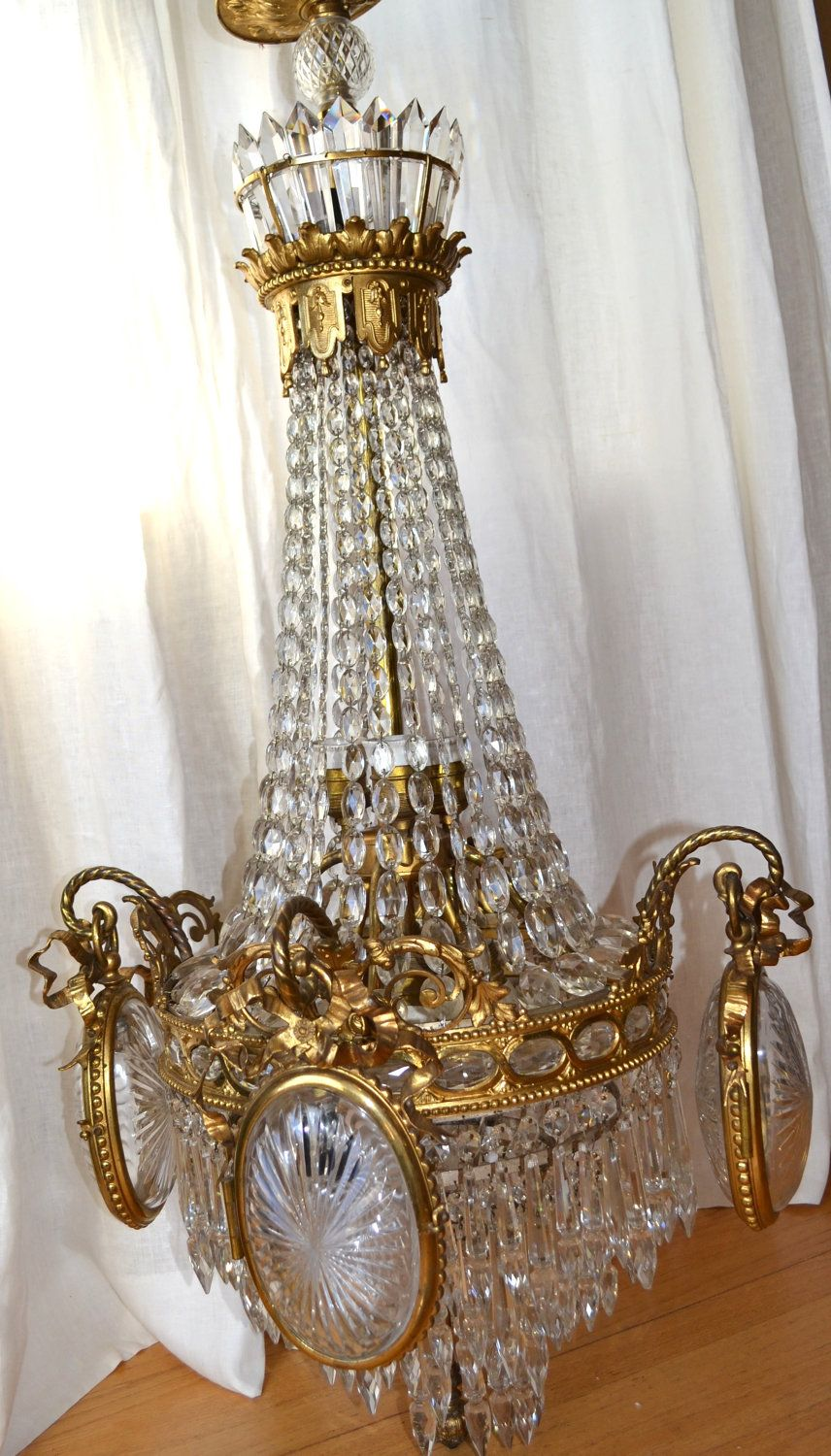 Antique Victorian European Crystal Empire Chandelier. - Antique Victorian European Crystal Empire Chandelier. Chandy Love