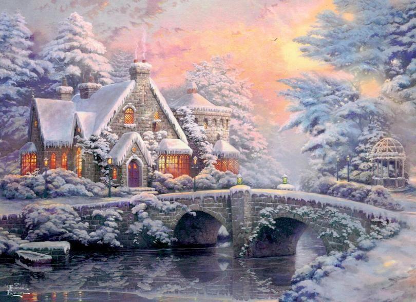 thomas kinkaid christmas cottage thomas kinkade winter art i rh pinterest com