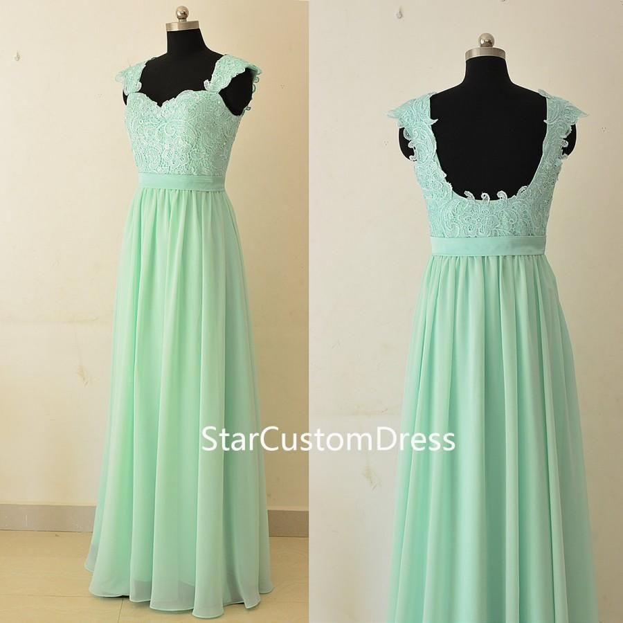 Mint green chiffon cheap bridesmaid dresses 2015 jewel neck a line mint green cap sleeves chiffon long bridesmaid dress with lace top low back ombrellifo Image collections