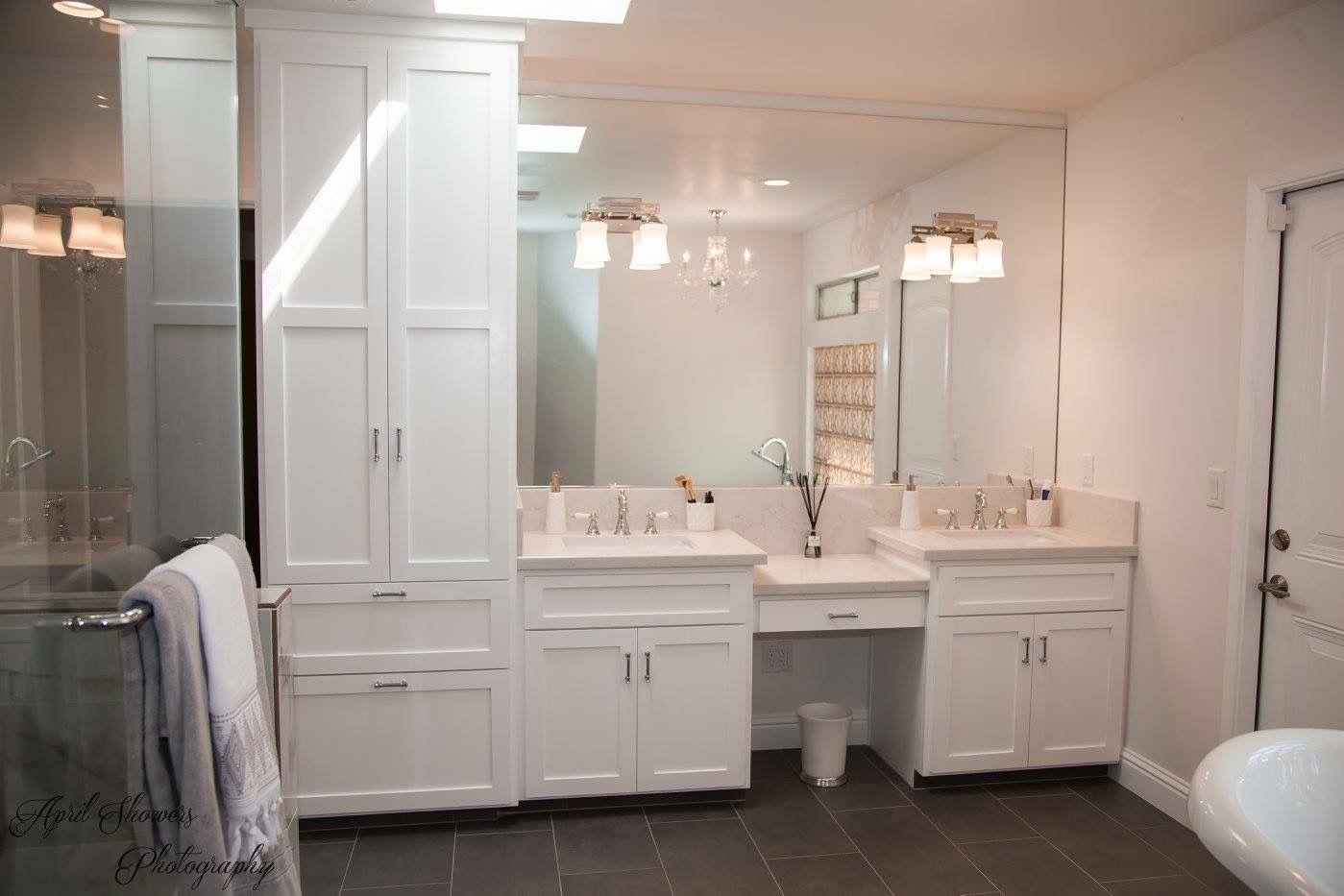 Master Bathroom Double Vanity With A Linen Closet With Images
