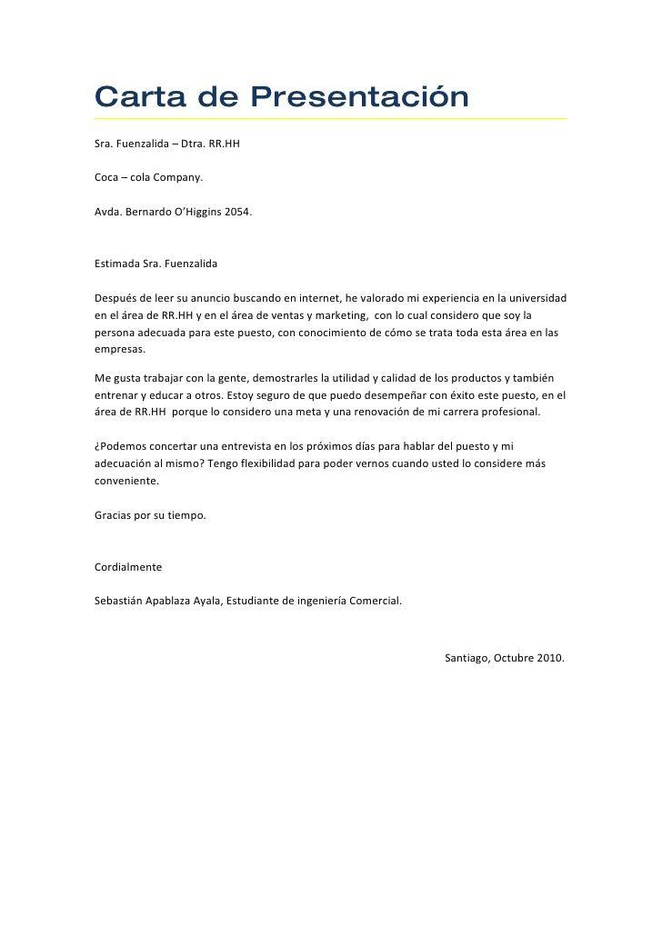 carta de presentaci u00f3n sra  fuenzalida  u2013 dtra  rr hh coca  u2013 cola company  avda  bernardo o