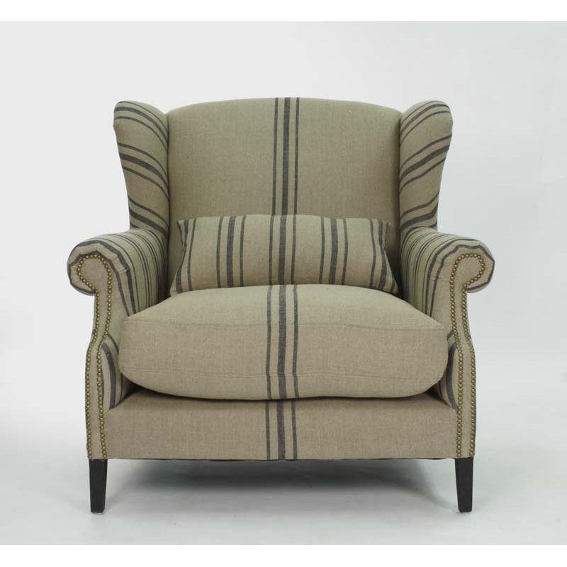 Napoleon French Fog Linen Blue Stripe Wingback Arm Chair: Zentique Napoleon Half Wingback Chair
