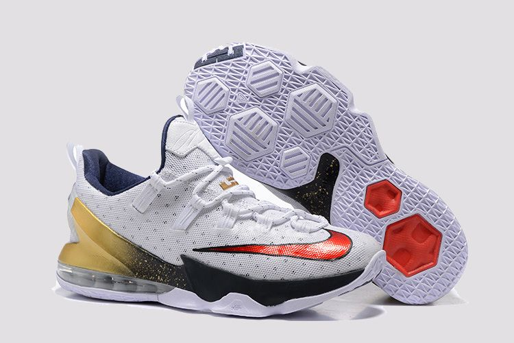2a4e4aea6fb Nike LeBron 13 Low Olympic Colorway  White University Red-Obsidian-Metallic  Gold Product Number  831926-164 This pair of the Nike LeBron 13 Low stays  true ...