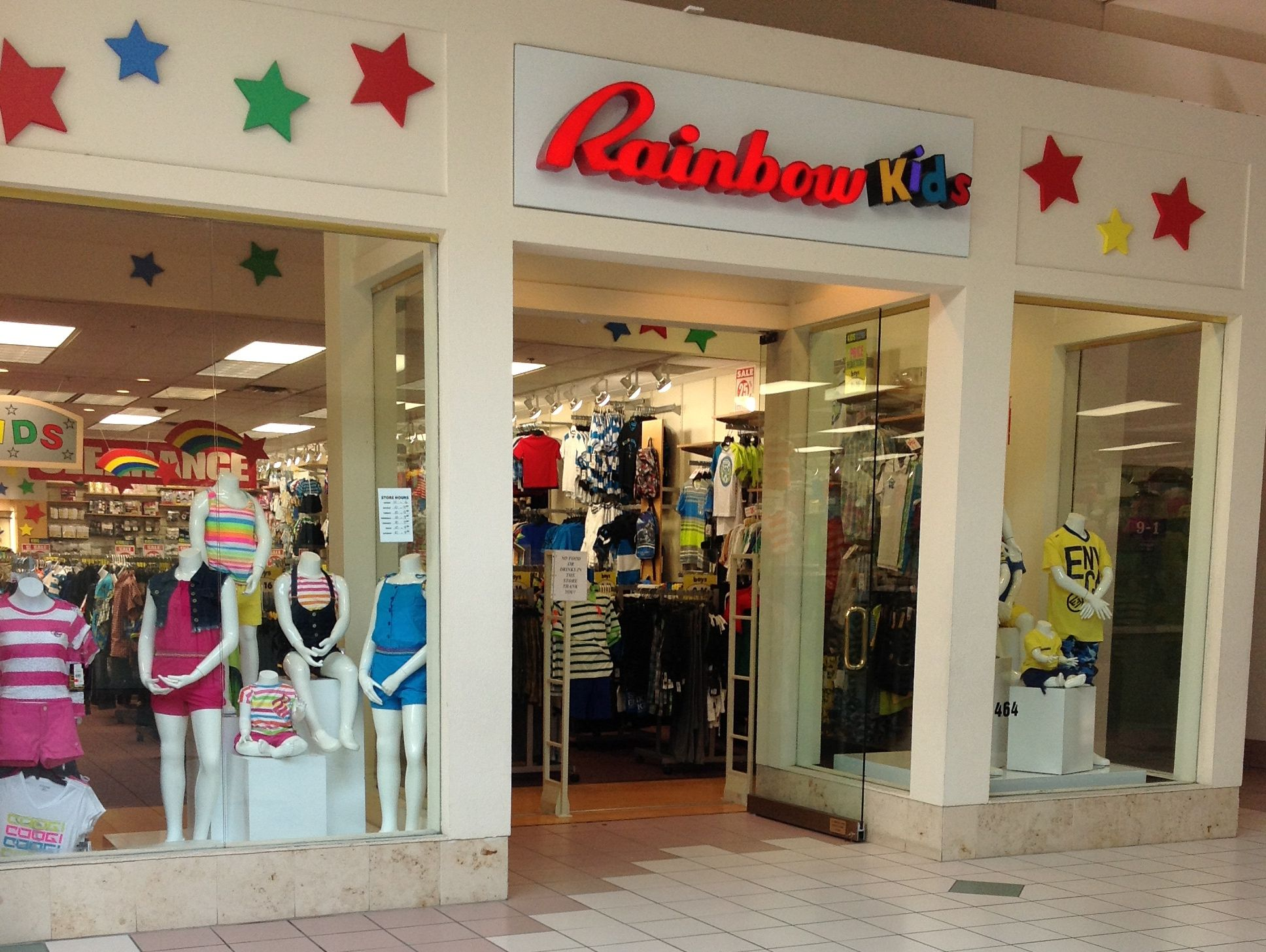 Childrens clothing can be found at rainbow kids with