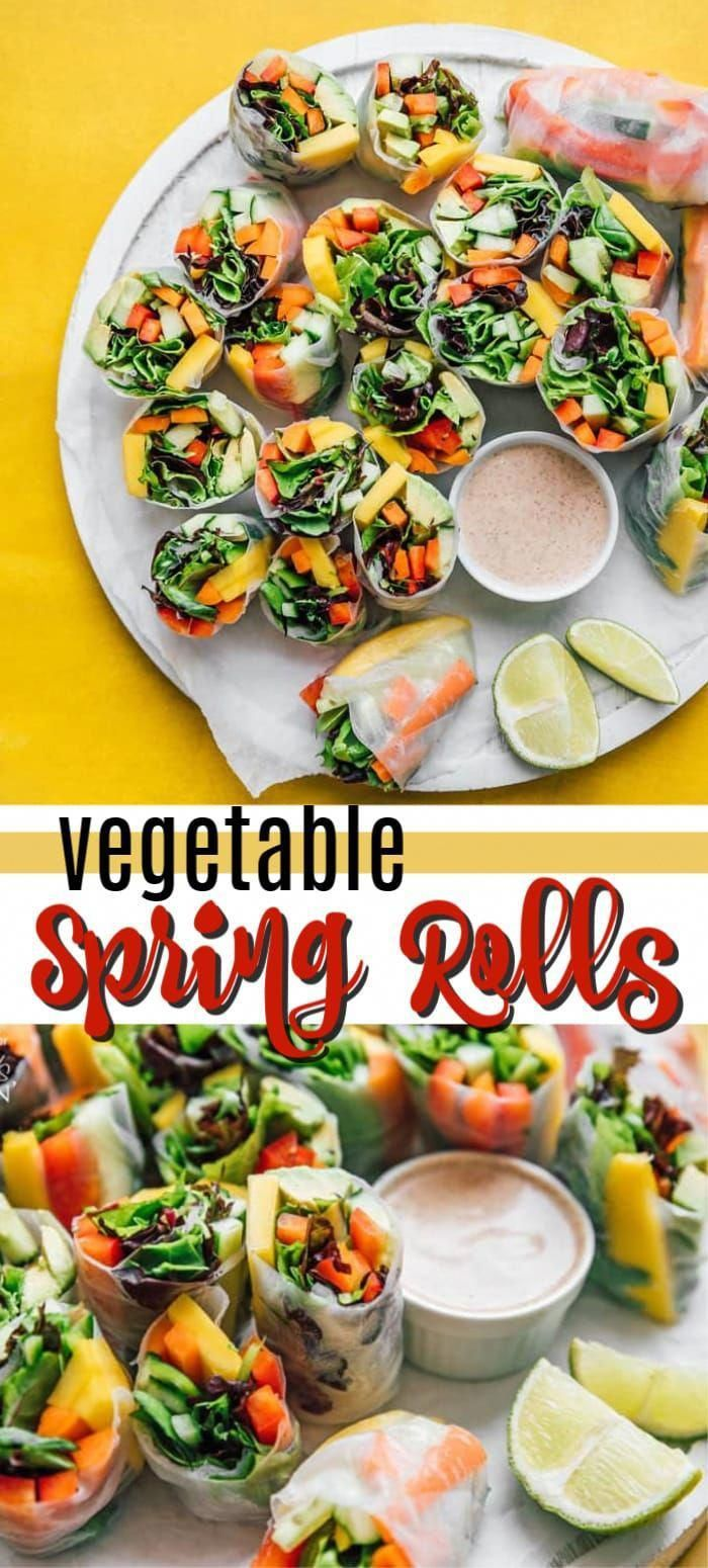 Fresh Vegetable Spring Rolls are made from colorful crisp vegetables and are a healthy appetizer that are perfect for summer! #springrolls #vegetable #veggierolls #summer #summerrecipes #potluck #avocado #jalapeno #appetizers #appetizerrecipes #vegetarian #jalapenoappetizers