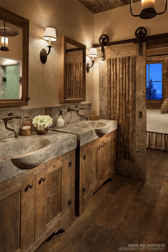 15 dreamy sliding barn door designs rustic bathrooms - Sliding barn door bathroom vanity ...