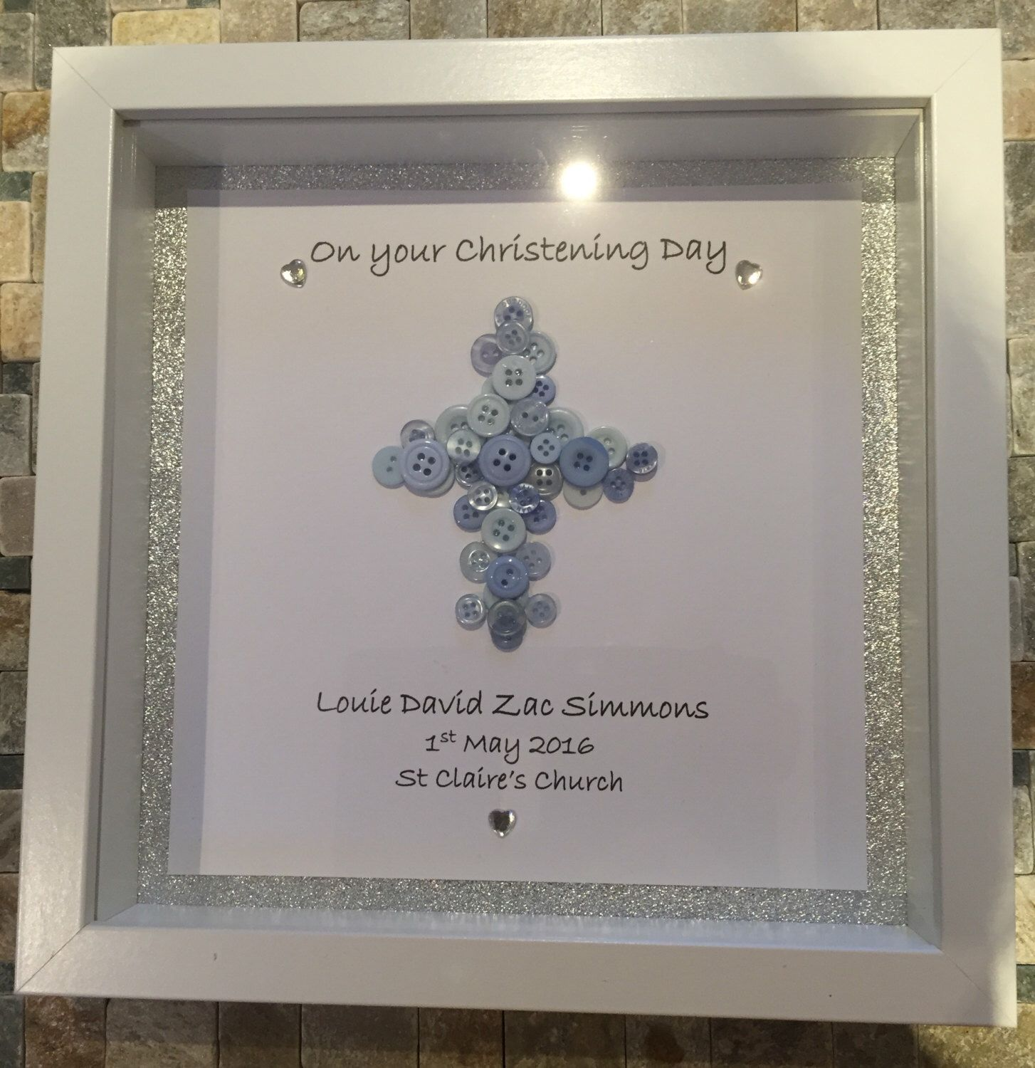 Christening Button Cross Gift~ Special Day~Box Frame~ Girl And Boy~