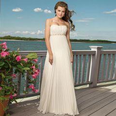 Simple Chiffon Empire Waist Beach Wedding Dress