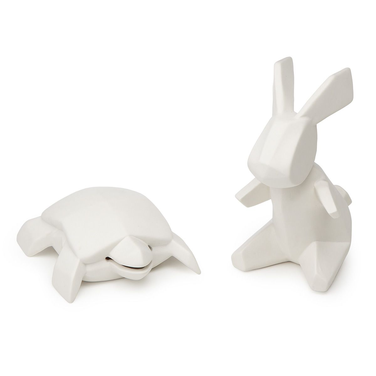 Animal Coin Banks Porcelain Tortoise And Hare Banks ウサギ 亀 と ウサギ