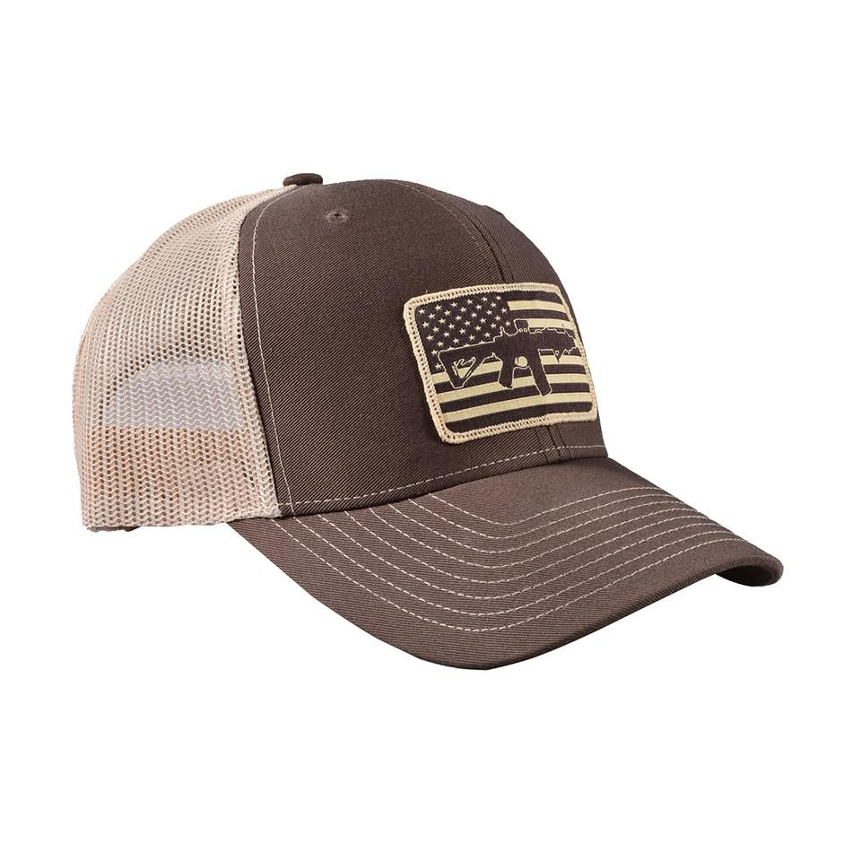 6f3d07e9e5553 AR Flag Patch Trucker Hat - Brown w Tan Mesh