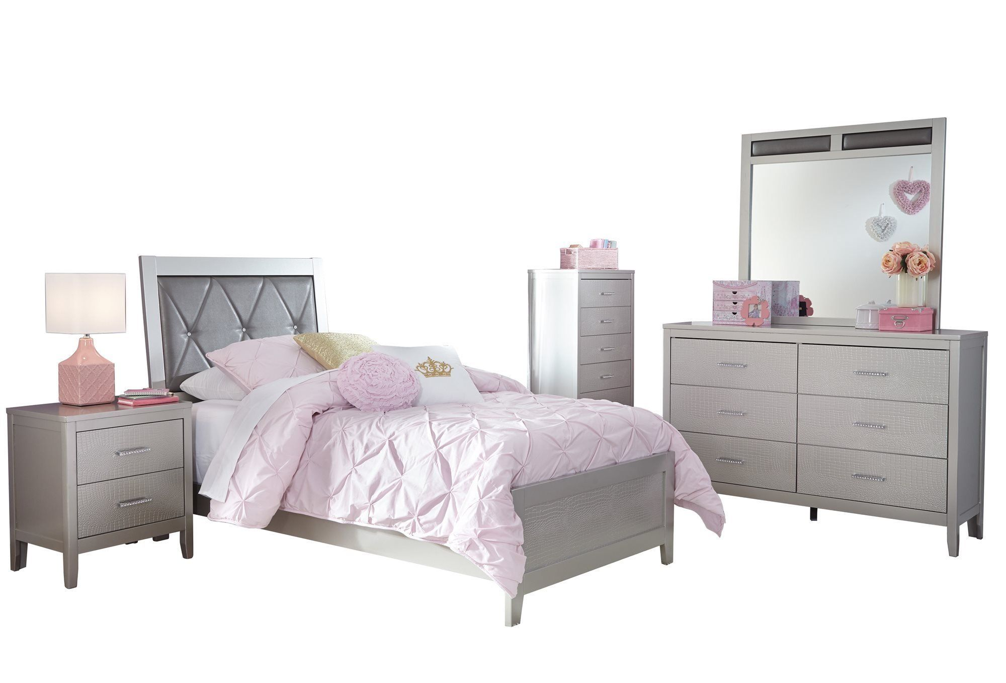 Ashley Olivet 5pc Bedroom Set Twin Panel Bed One Nightstand Dresser Mirror Chest In Silv