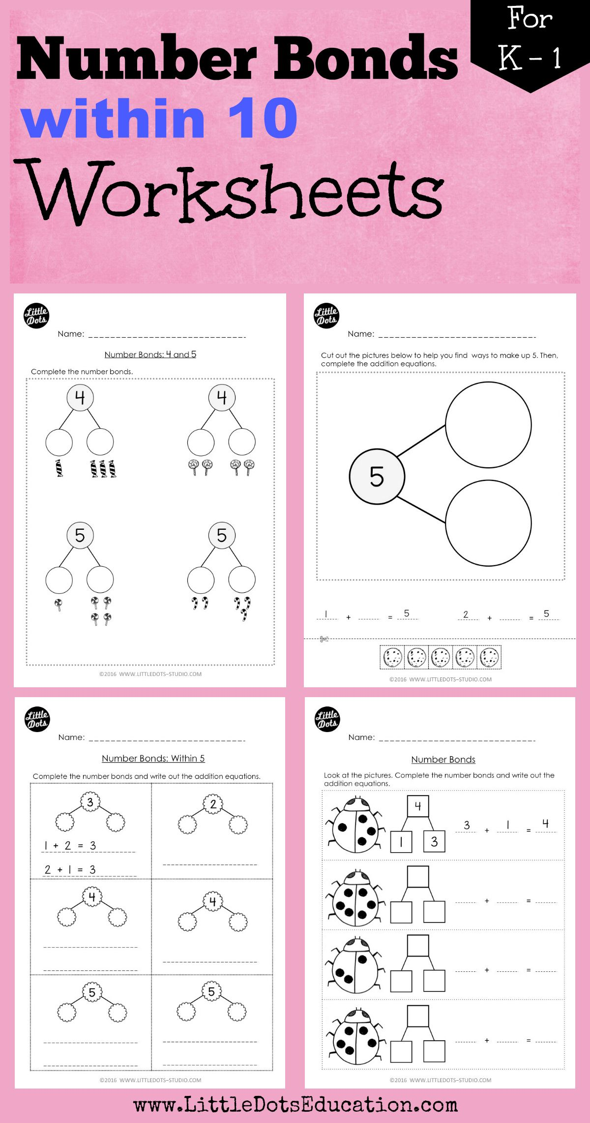 worksheet Number Bonds To 10 Worksheet download number bonds worksheets within 10 for kindergarten to grade 1