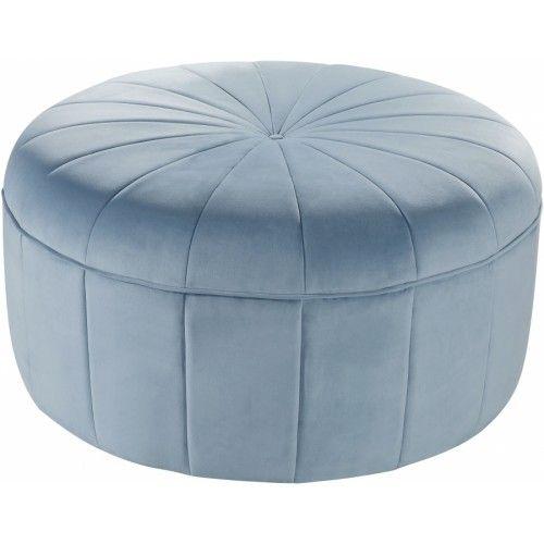 Baby Blue Velvet Large Round Center Tuft Coffee Table Ottoman Tufted Ottoman Pouf Ottoman Velvet Ottoman