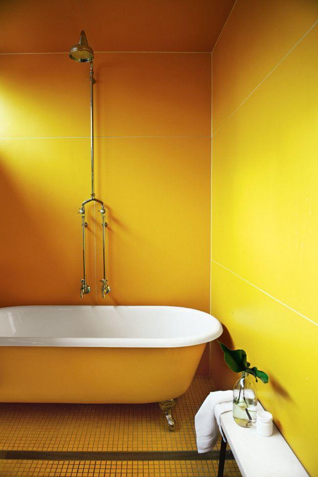 yellow bathroom #decor #colors   B a t h r o o m   Pinterest - Geel