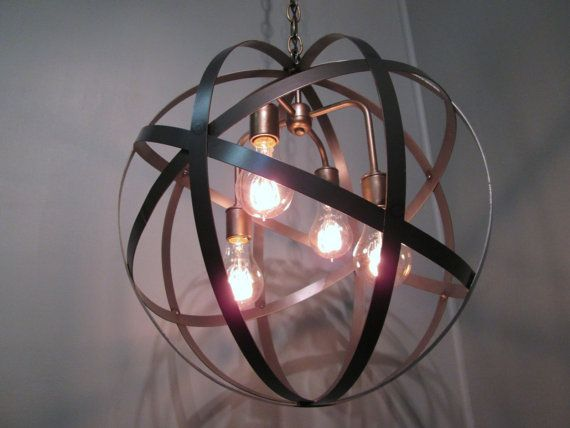 "Industrial Orb Chandelier Light 18"" Hanging Ceiling Light Orb Sphere Wine Barrel Ring 4 Lights  18"" Diameter Edison Bulbs"