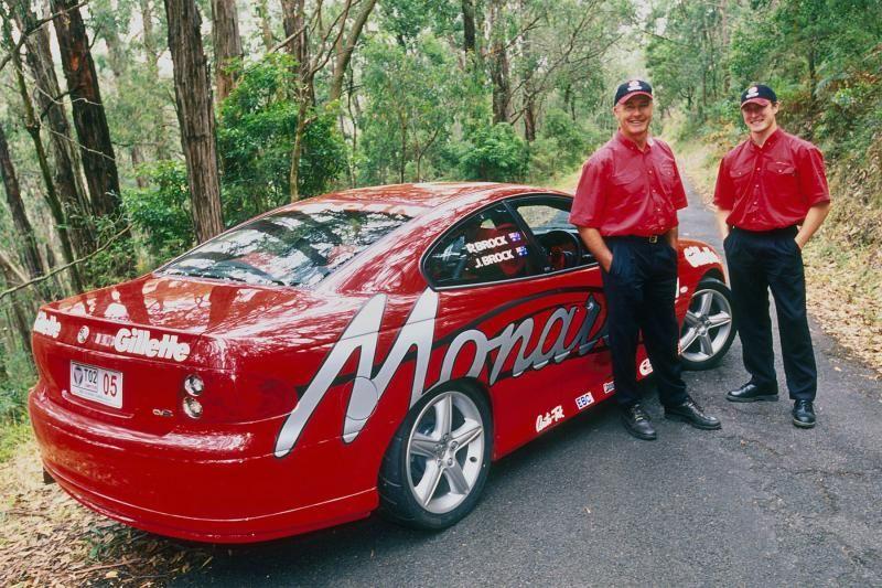 Peter Brock with his Targa Tasmania Holden Monaro Holden