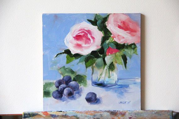 Roses Painting Original Flowers Oil Christmas Gifts Birthday ARTISTS