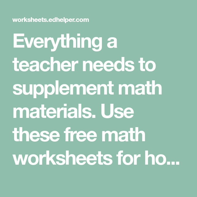 Everything a teacher needs to supplement math materials. Use these ...