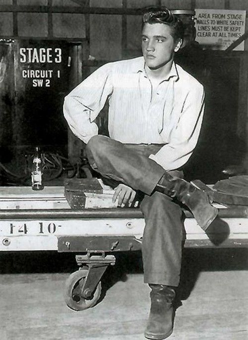 Elvis Presley on the set of 'Love Me Tender', 1956.