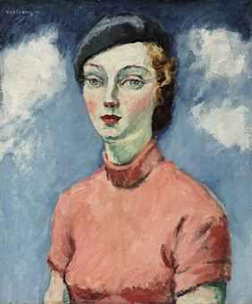 La femme au béret . Kees van Dongen    peach and french blue