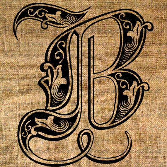 LETTER Initial B Monogram Old ENGRAVING Style Type Text Word Digital Image Download Sheet Transfer To