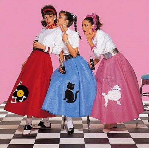 Girls Wearing Poodle Skirt Costumes