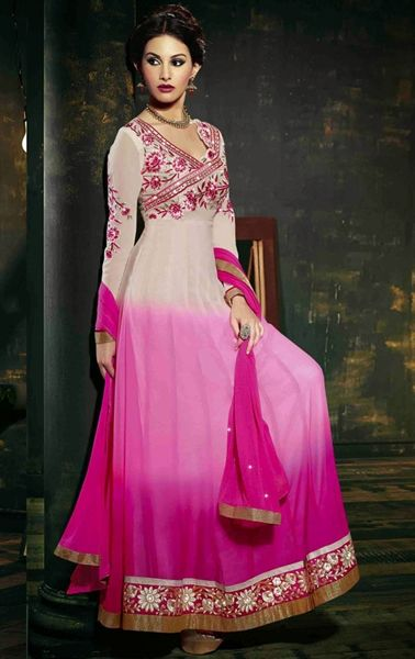 Picture of Plushy Pink and Off White Color Anarkali Suit