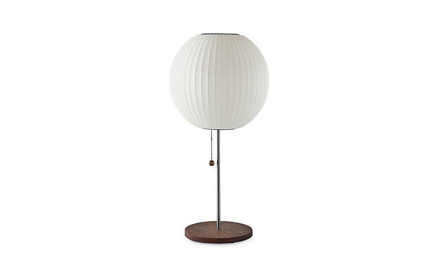 Herman Miller Nelson Ball Table Lamp Walnut Base White At Dwr In 2020 Table Lamp Design Within Reach Modern Lighting