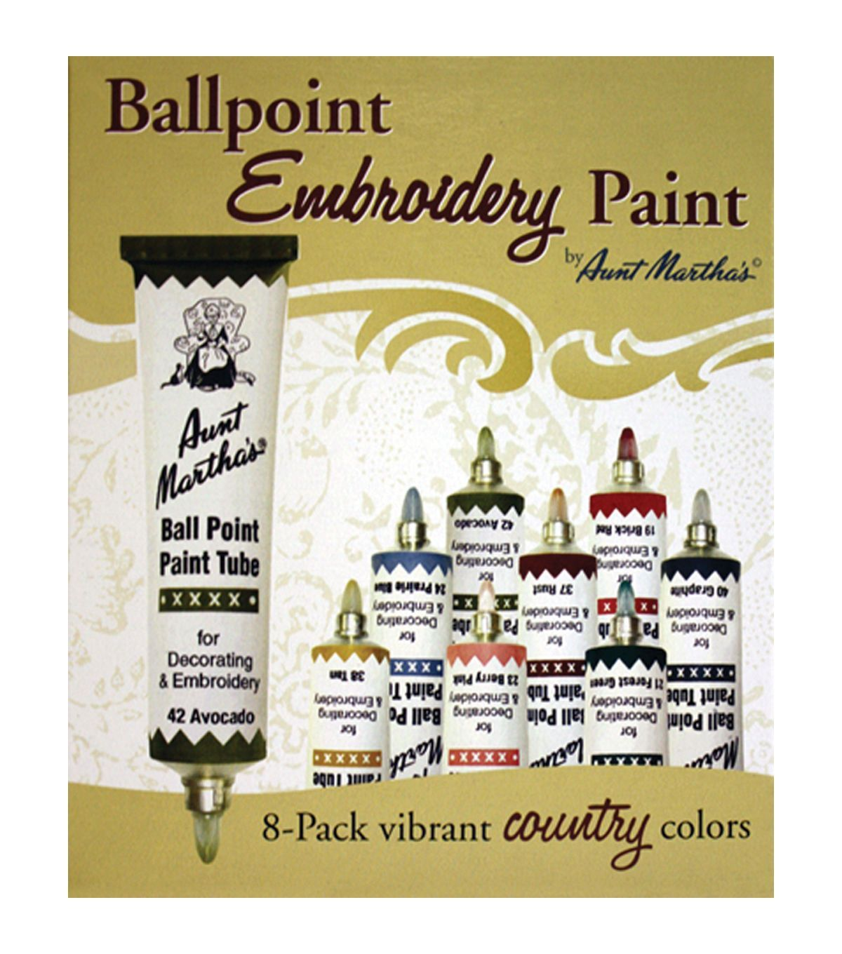 Aunt Martha\'s Ballpoint Paint Tubes 1 Ounce 8/Pkg - Country Colors ...