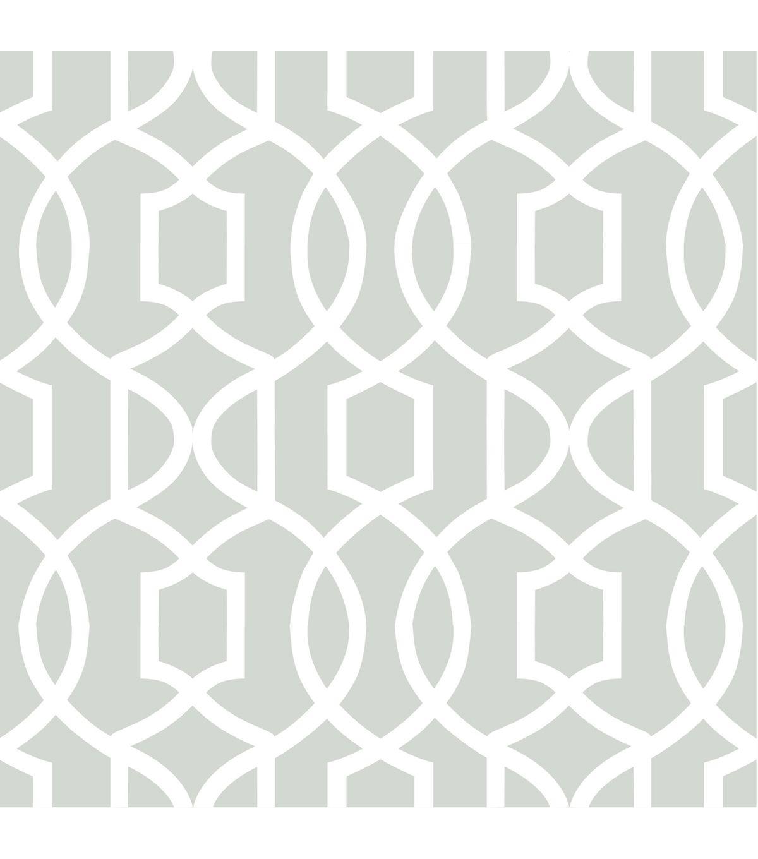 WallPopsNuWallpaper Gray Grand Trellis Peel And Stick