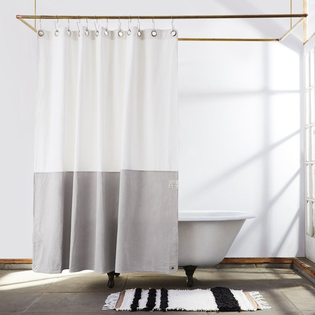 Orient Driftwood Canvas Color Blocked Shower Curtain Banos
