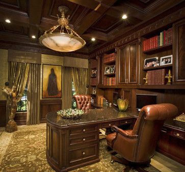 Traditional Office With Wood Paneling And Leather Chair Home Decor Pinterest Traditional