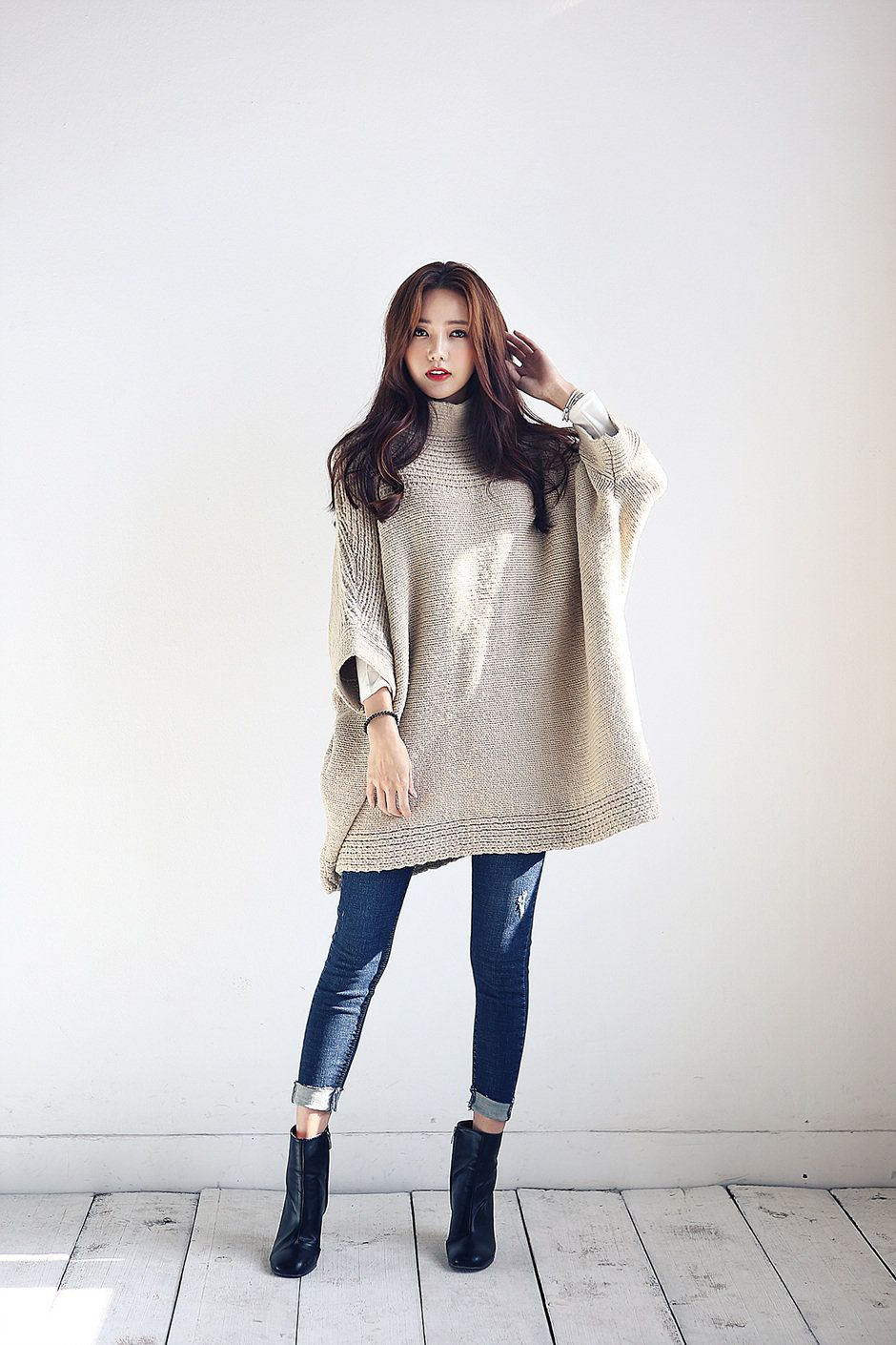 Knit Loose Cloak Top | Korean Fashion Korean And Ulzzang