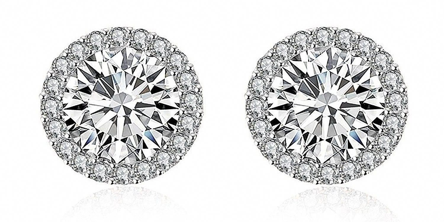 K white gold plated round cubic zirconia halo stud earrings