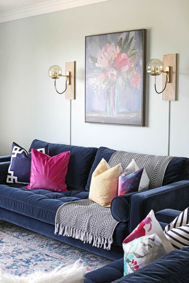 From Farmhouse To Modern Glam My Living Room Makeover With Article Sofa The Craft Patch Blue Sofas Living Room Blue Living Room Decor Blue Sofa Living