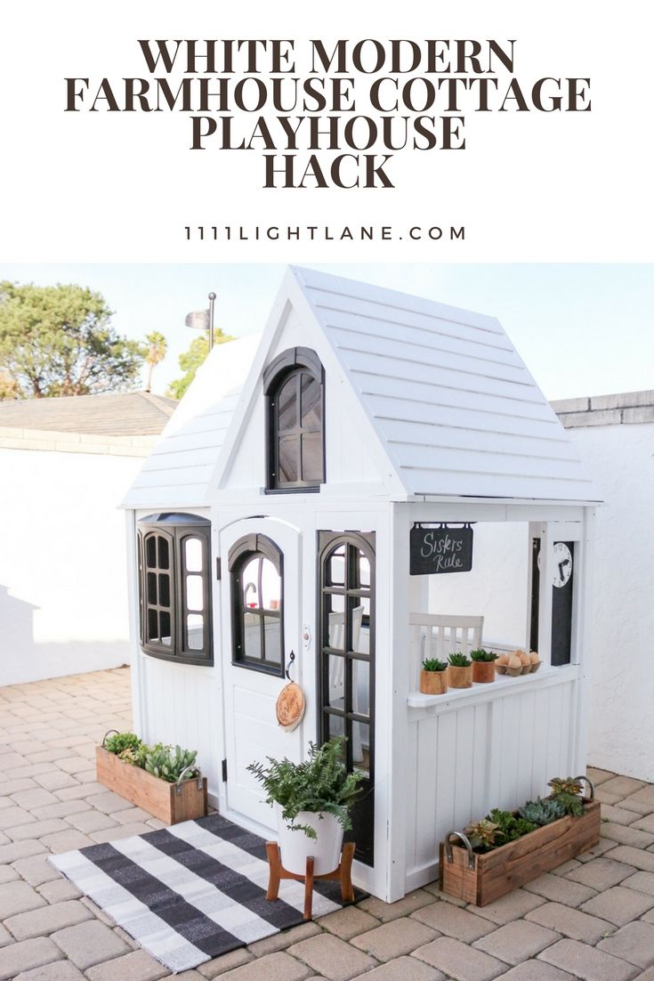 White Modern Farmhouse Cottage Playhouse Hack