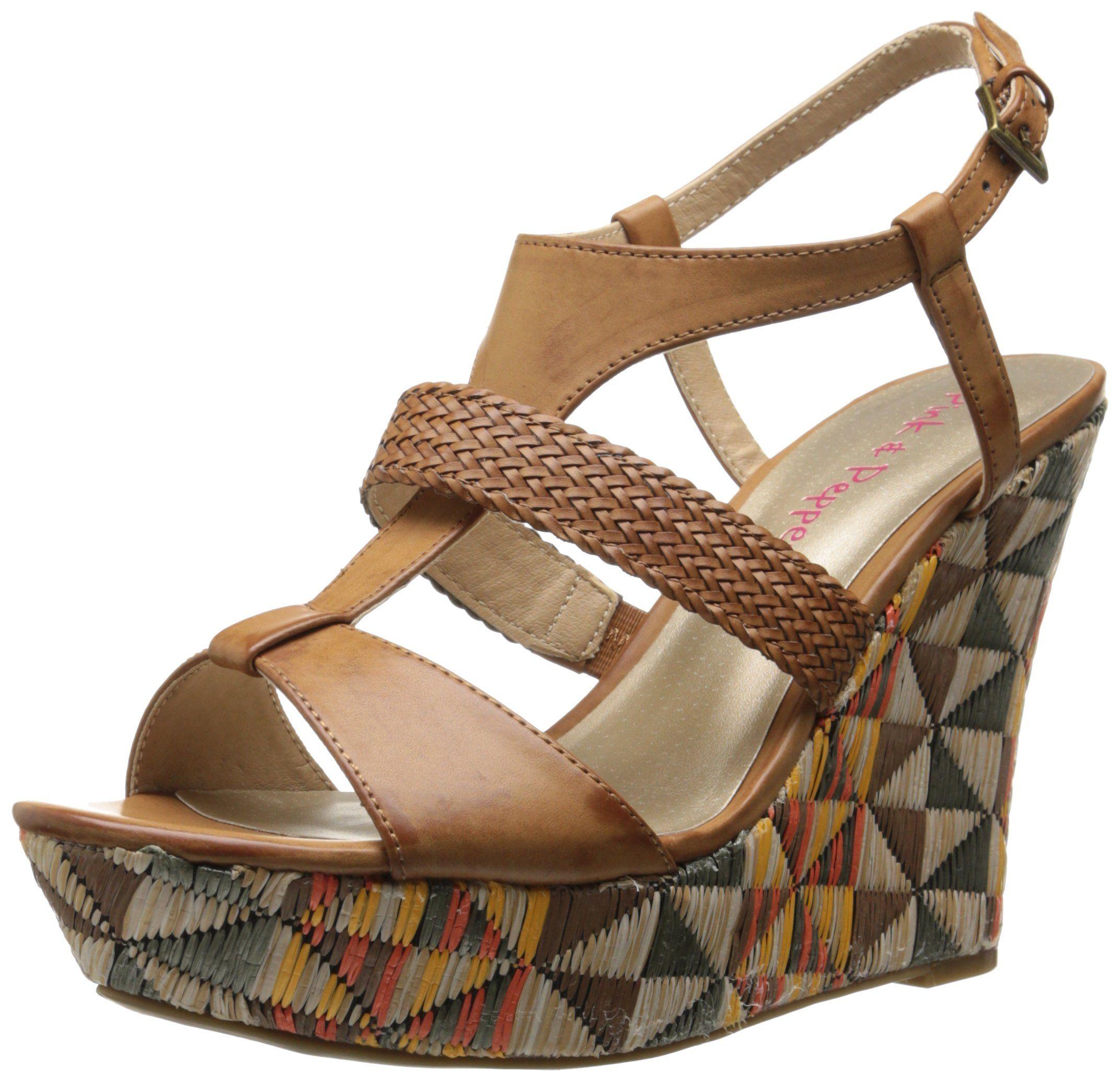 Pink & Pepper Women's Desired Wedge Sandal, Tan, 8.5 M US