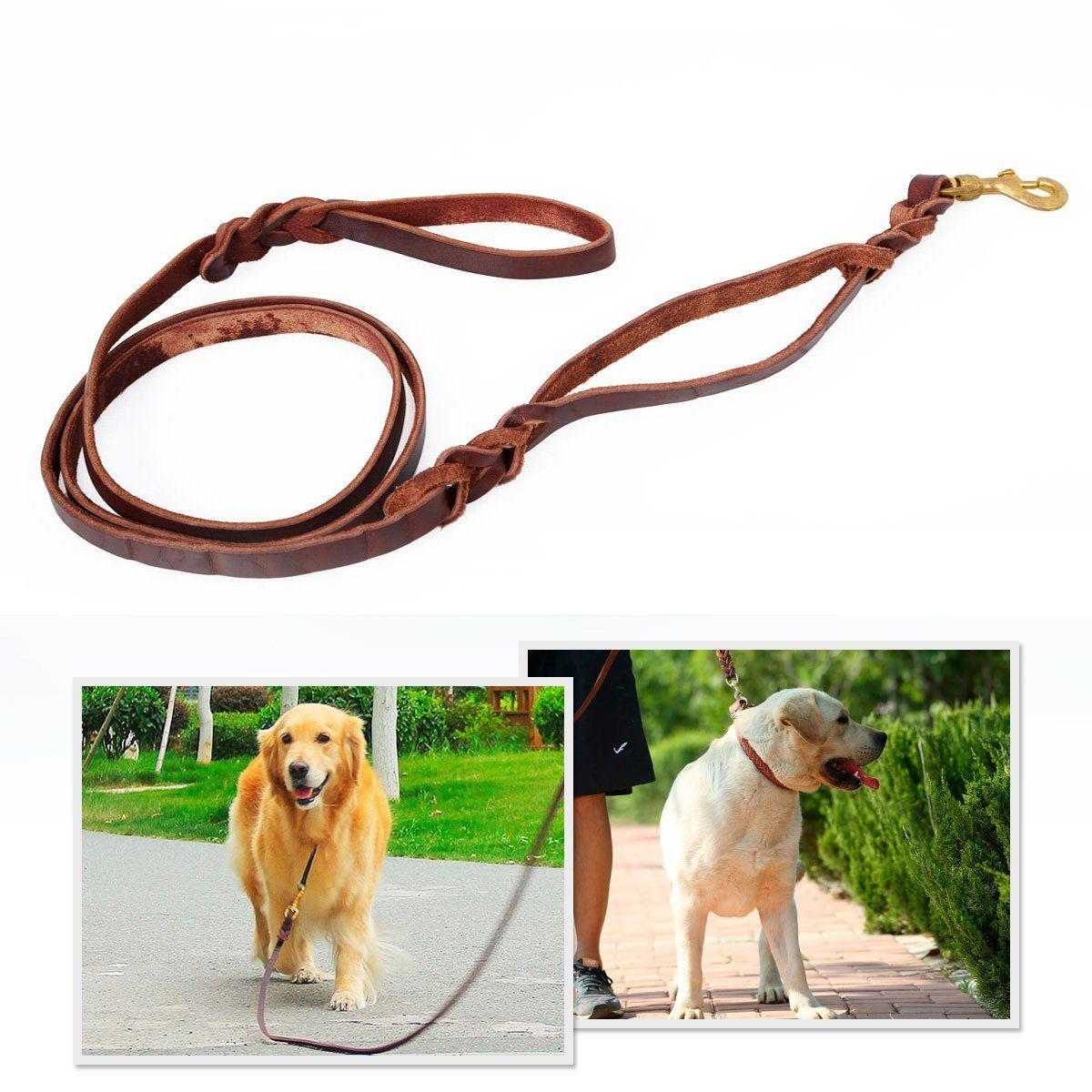 Bienna Dog Leash Heavy Duty Long Brown Genuine Leather Braided 2