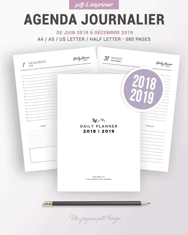 Agenda Journalier Imprimable Insert Planner Francais Pour L Organisation De Planning To