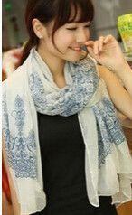 Fashion Women 2015 New Beautiful Blue And White Porcelain Print Scarf Warm Scarf Free Shipping