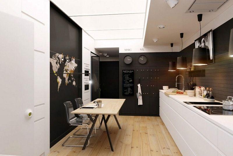 kleine küche in schwarz und weiß mit akzenten aus hellem holz, Hause ideen