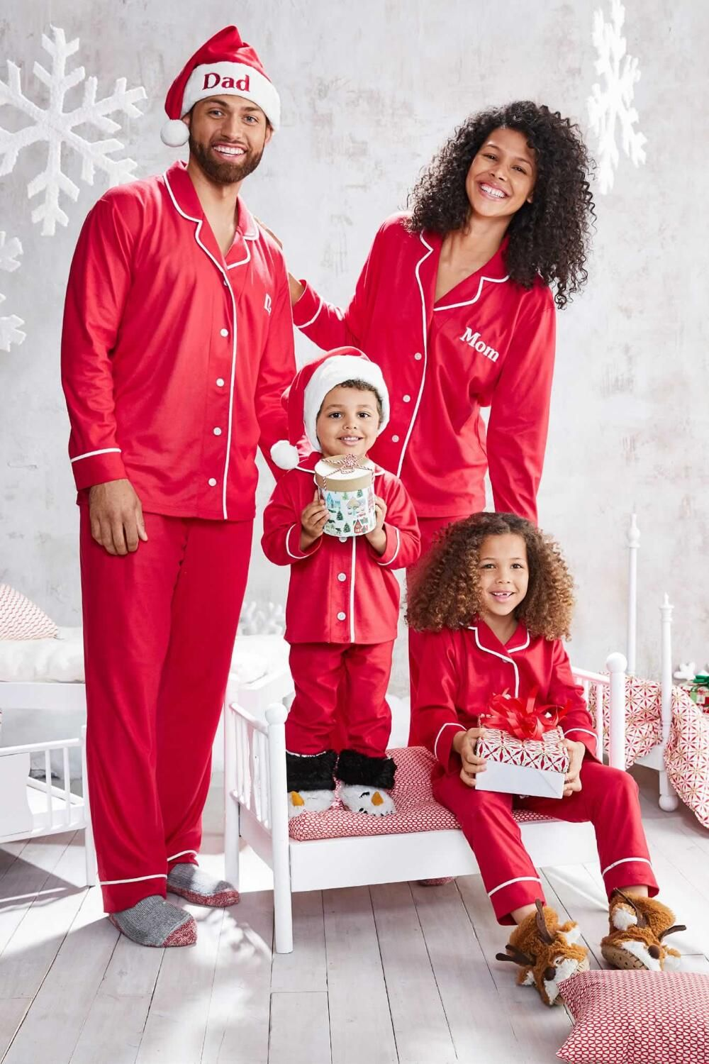 Adults Personalized Classic Red Microfleece Pjs Chasing
