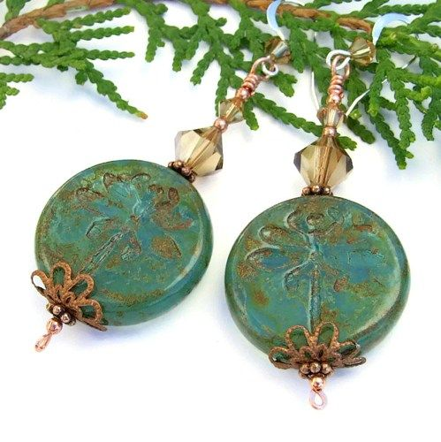 Spring Handmade Earring Designs | Dragonfly Earrings Handmade Czech Glass Swarovski Green Brown Jewelry